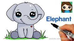 easy cool drawings of elephant Cute Elephant Drawing, Cartoon Elephant, Baby Drawing, Baby Cartoon, Unicorn Drawing, Kawaii Drawings, Disney Drawings, Cool Drawings, Pencil Drawings