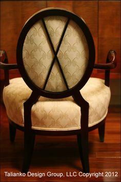 Talianko Design Group Dining Room Chair Detail  #Crossback #DiningRoom #Elegant #ArmChair #Darkwood #Formal