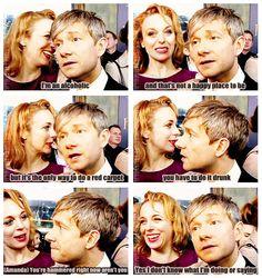 Martin Freeman and Amanda being adorable on Hobbit red carpet