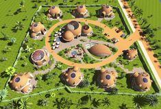 Rosyjski projekt ekowioski domów kopułowych - Okrągłe Miasteczko   Domy Kopuły SmartCity Cohousing Forest Resort, Farm Restaurant, Tiny House Community, Camping Resort, Dome House, Geodesic Dome, Villa Design, Conceptual Design, Concept Architecture
