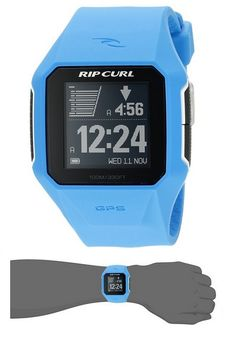 Square surf watch featuring technology that tracks surf data and syncs with Rip Curl