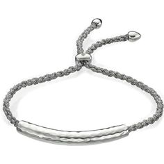 MONICA VINADER Esencia sterling silver friendship bracelet found on Polyvore featuring polyvore, women's fashion, jewelry, bracelets, braided friendship bracelet, friendship bracelet, sterling silver jewelry, sterling silver jewellery and sterling silver bangles