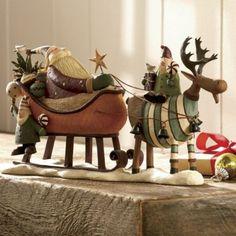 "Retired Williraye Studio Folk Art We ""Wish You A Merry Moose mas"" Rustic Christmas, Christmas Art, Christmas Decorations, Christmas Ornaments, Moose Decor, Primitive Santa, Polymer Clay Christmas, Xmas Wreaths, Christmas Figurines"