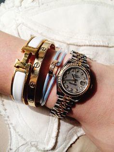 Stacked wrist. Rolex Lady Datejust • Cartier Love Bracelet • Cartier Charity Bracelet • Hermes Clic Clac #hermes #cartier #rolex