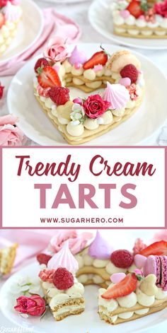 These trendy Cream Tarts are all the rage Also known as cream biscuits or cream cakes you can cut them into letters numbers or shapes and decorate them with fruits flower. Tart Recipes, Baking Recipes, Cookie Recipes, Dessert Recipes, Cheese Recipes, Fondant Cupcakes, Cupcake Cakes, Just Desserts, Delicious Desserts