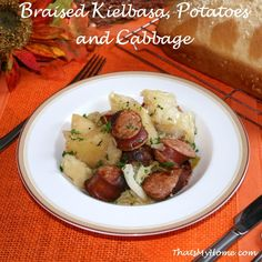 Braised Kielbasa, Potatoes and Cabbage is a one pot dinner that goes all together and is ready in less than an hour.