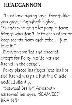 Heroes of Olympus Headcannon. Annabeth and Perachel's secret. NOOOO I SHIP PERCABETH