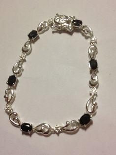 "Onyx Sterling Bracelet 7.5"" Silver 925 Black Stones 6 Carat Vintage Southwestern Mod Goth Jewelry Birthday Anniversary Holiday Gift"
