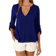 Women Chiffon Blouses Sexy Long Sleeve V-Neck Shirts Female Plus Size Tops Blusas Femininas Casual feminina camisas Blouse Col V, V Neck Blouse, Sexy Blouse, Blouse Dress, Blue Blouse, Chiffon Shirt, Chiffon Tops, Shirt Blouses, Women's Shirts