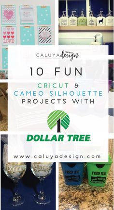 Check 10 Fun Cricut & Cameo Silhouette projects with Dollar Tree! These 10 DIY craft ideas will inspire you to create affordable giveaways and home decor by using your Cricut and Cameo Silhouette cutting machines. Cheap DIY craft Idea with Cricut and Cameo Silhouette. Dollar tree craft ideas!