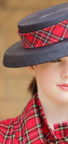 Navy parisisal hat with cotton Stewart tartan band and bow.  Designer MajorSam7 on deviantART.