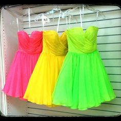 Neon party dresses for me and my besties   my party Vestidos Neon, Neon Ropa 602ea44e9b
