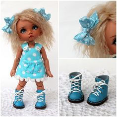 """NEW! OOAK outfit """"Blue & White polka dots"""" with shoes, for PukiFee, Lati Yellow by TashkasBears on Etsy"""