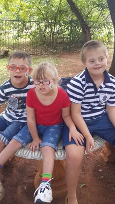 21 March 2015 - Kallen, Anlie and Dawie, celebrating World Down syndrome Day.