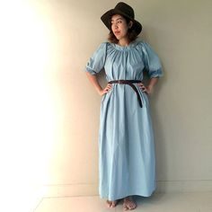 Sweet Simply  Blue Cotton Long Tunic Maxi Dress One size by siam2u