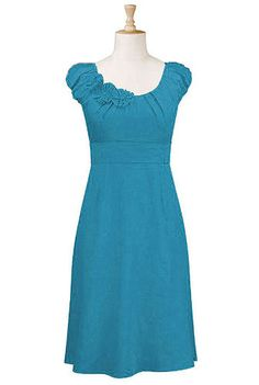 Turquoise Rosette trim dress - eShakti.com