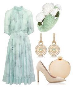 A fashion look from July 2017 featuring green dress, nude pumps and gold clutches. Browse and shop related looks. Elegant Outfit, Classy Dress, Classy Outfits, Stylish Outfits, Look Fashion, Womens Fashion, Fashion Design, Modest Fashion, Fashion Dresses