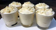 The most delicious dessert you've ever tasted: white chocolate mousse! A scrumptious sweet indulgence that's perfect for Christmas dinner: white chocolate Köstliche Desserts, Delicious Desserts, Dessert Recipes, Banana Drinks, White Chocolate Mousse, Good Food, Yummy Food, High Tea, Sweet Recipes