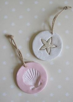 Seashell Ornaments Seashell Clay Ornaments definitely would work For my All Saint Salt Dough Christmas Ornaments, Seashell Ornaments, Clay Ornaments, Seashell Crafts, Beach Crafts, Summer Crafts, Holiday Crafts, Crafts For Kids, Homemade Ornaments