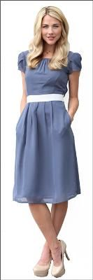Lovely and AFFORDABLE slate blue chiffon with ivory belting knee length dress. Perfect for your modest bridesmaid dress!
