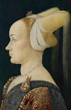 Portrait of a lady,c.1410 by an unknown Franco-Flemish Master         Portrait of Ginevra d'Este,1436-38 by Pisanello        Leonell...