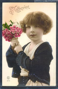 QL110 ART DECO Cute GIRL BUNCH of FLOWERS KITSCH Tinted PHOTO pc