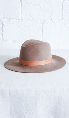 Janessa Leone Tan Hat with Leather Brim.