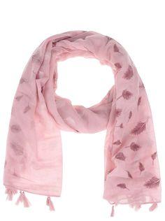 Růžový šátek s třásněmi a motivem pírek Haily´s Liliana 614e742584