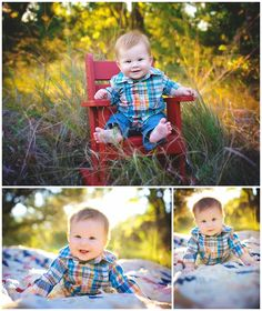 Family Portraits. Family in a field. 6 Month Pictures in the Summer. {6 month poses} {6 months} {6 month portraits} {6 month old poses} {wichita baby photography} {wichita family photographer} {family photographer} Erin Kata Photography