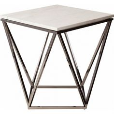 Nuevo Modern Furniture Jasmine Side Table White Marble on Geometric Gold Brushed Stainless Base at Dynamic Home Decor Marble Furniture, Steel Furniture, Furniture Decor, Modern Furniture, Furniture Design, Geometric Furniture, Rustic Furniture, Furniture Layout, Furniture Stores