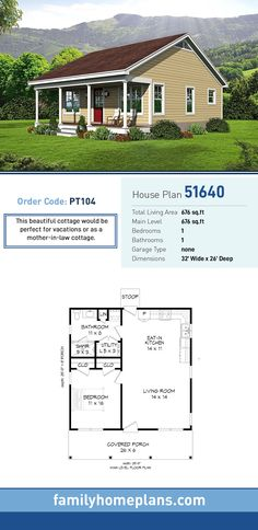 Cottage House Plan 51640 | Total Living Area: 676 SQ FT, 1 bedroom and 1 bathroom. This beautiful cottage would be perfect for vacations or as a mother-in-law cottage. #cottagehome