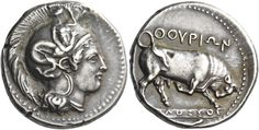 Nomos of Thurium. AR, 7.54 g, Lucania, c.400-350 BC. Head of Athena r., wearing crested Attic helmet decorated with Scylla scanning. / ΘΟΥΡΙΩΝ. Bull butting r.; on exergual line, signature [ΜΟ]ΛΟΣΣΟΣ. In exergue, fish r. SNG Ashmolean 942 (these dies). SNG ANS 1023 (these dies). SNG Lockett 500 (this obv. die). Historia Numorum Italy 1784. Ex Art Monaco 7 Nov. 1977, 30; M&M 54, 1978, 64 and Triton IV, 2000, 58 sales. From the Hans Berquin collection. NAC100, 70. Wonderful old cabinet tone…
