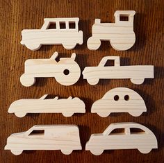 Set of 8 Natural Wood Vehicle Toy Cut Outs Natural by ApacheBleu