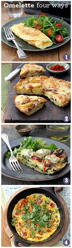 Dinner doesn't get much easier than an omelette - 1. Classic rolled French omelette 2. Spanish tortilla 3. Italian frittata with spinach, pasta and ricotta 4. Indian masala omelette | Tesco Magazine