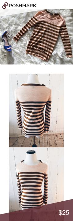 """J.Crew Striped Nautical Pullover Sweater S This is a gorgeous lightweight pullover sweater made by J.Crew size Small. Salmon pink with brown color. 100% wool. Style#E8553. Stretchy material. Sleeve length 21""""/ bust up to 34""""/ sweater length 25.6."""" Great condition. jcrew Sweaters"""