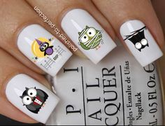 Halloween nail art set #667 x12 cute dracula owl zombie owl vampire bat owl water transfer decals stickers by Nailiciousuk on Etsy