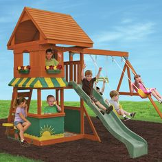 Features:  -Awecro swing and 2 belt swings.  -Chalk wall tarp.  -High rail wave slide.  -Play phone.  -Rock climbing wall.  -Sandbox.  Finish: -Cedar/natural.  Primary Material: -Wood.  Swing Position
