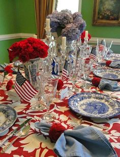Fourth Of July Decor, 4th Of July Celebration, 4th Of July Decorations, 4th Of July Party, July 4th, House Decorations, Elegant Table Settings, Beautiful Table Settings, Dresser La Table