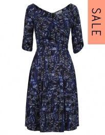 Bombshell By Katya Wildman 3/4 Sleeve Pen & Ink Print Flare dress SALE was £270 NOW £189