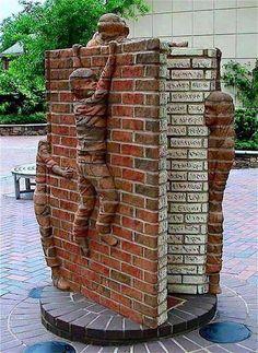Brick sculpture can be dated back to ancient Babylon but remains a fresh and interesting enhancement to any building, wall or environment. Carolina Do Norte, North Carolina, Carolina Usa, Chevron Wall Art, Brick Art, Brick Detail, Brick Construction, Brick Architecture, Brick Design