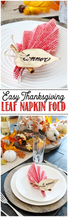 Add some charm to your Thanksgiving tablescape with these quick and simple leaf napkin folds! All you need is a regular paper napkin. #Thanksgiving #DIY #Thanksgivingtablescape
