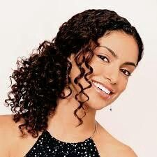 Curly hair, side ponytail