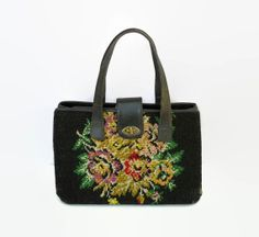 Floral Tapestry Purse Carpet Bag Vintage Leather 60's Handbag Granny Style Twist Lock Tote Mid Century Indie Hipster Librarian