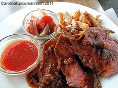 The Lazy Goat Steak Frites! Pot Roast, Lazy, Goats, Steak, Restaurants, Ethnic Recipes, Food, Carne Asada, Roast Beef