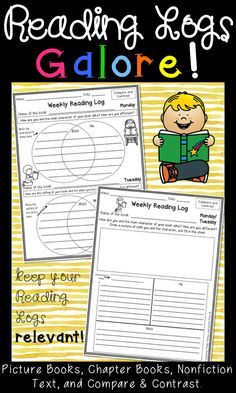 Reading Logs for the whole year! This packet includes templates to use with Picture Books, Chapter Books, Nonfiction Text, and with Compare & Contrast assignments. Assign them for homework or morning work, use in Literacy Centers, and pair them with books at the Listening Center! Click the image to see the preview at my TpT store!