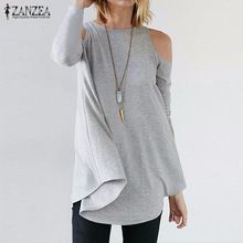 ZANZEA Women Elegant Blusas Tops 2016 Autumn Ladies Sexy Tunic Off Shoulder Long Sleeve Pullover Casual Loose Blouse Shirts(China (Mainland))