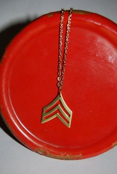 Native - Arrow - Chevron - Military - Sergeant - Sarge - Brass - Gold - Chain - Necklace - Up