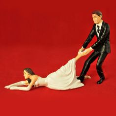 Reluctant Bride Cake Topper by Living Royal. Nice twist!