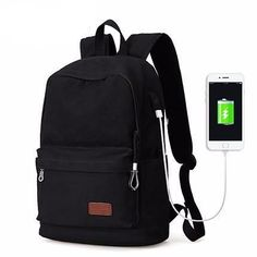 Canvas USB Charger Backpack