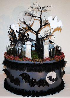 Halloween Graveyard Centerpiece Glittered Graveyard